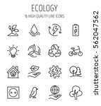 set of ecology in modern thin... | Shutterstock .eps vector #562047562