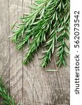 Rosemary Plant On Wooden Rustic ...