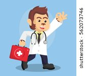 monkey doctor walking cartoon | Shutterstock . vector #562073746