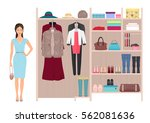 beautiful fashion lady and... | Shutterstock .eps vector #562081636