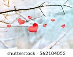 Red Hearts On Snowy Tree...