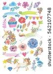 cute watercolor magic unicorn... | Shutterstock . vector #562107748