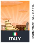 travel poster to italy. vector... | Shutterstock .eps vector #562115446