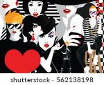 group portraits of fashion... | Shutterstock . vector #562138198