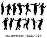 vector drawing silhouettes of... | Shutterstock .eps vector #56214019