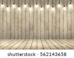 wood wall with bulb lights lamp.... | Shutterstock . vector #562143658