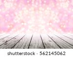 Empty Wooden Table With Pink...