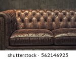 vintage brown leather sofa with ... | Shutterstock . vector #562146925