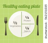 healthy eating plate diagram.... | Shutterstock .eps vector #562151035