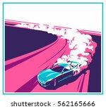 burnout car  japanese drift... | Shutterstock .eps vector #562165666