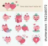 9 cute sweet heart vector set ... | Shutterstock .eps vector #562168372