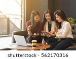 group of friends happily hang...   Shutterstock . vector #562170316