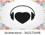 heart  headphone icon vector... | Shutterstock .eps vector #562171648