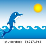 dolphin who is jumping out of... | Shutterstock .eps vector #562171966