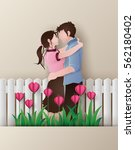 illustration of love     couple ... | Shutterstock .eps vector #562180402