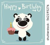happy birthday  funny panda... | Shutterstock .eps vector #562195276