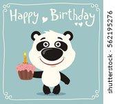 happy birthday  funny panda... | Shutterstock .eps vector #562195276