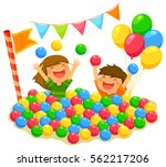 Two Kids Playing In A Ball Pit...