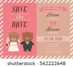 cute bear couple illustration... | Shutterstock .eps vector #562222648