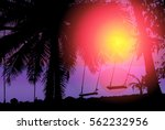 tropical sunset view with palm... | Shutterstock .eps vector #562232956