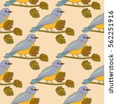seamless pattern with a tit on... | Shutterstock .eps vector #562251916
