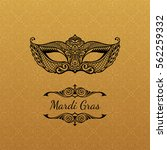 vector gold mask of lace. mardi ... | Shutterstock .eps vector #562259332