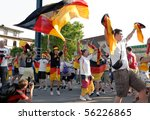 Small photo of HEIDELBERG, GERMANY - JUNE 27 : German soccer fans celebrate Germany beat England at the world cup at the Adenauer Platz on June 27, 2010 in Heidelberg, Germany