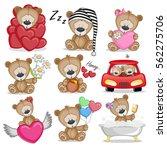 set of cute cartoon teddy bear... | Shutterstock . vector #562275706