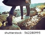 young couple  hipster outfit ... | Shutterstock . vector #562280995