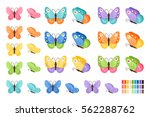 Stock vector watercolor colors butterflies isolated on white background pretty vector butterfly set with spring 562288762