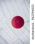 hot air balloon landing view... | Shutterstock . vector #562296022