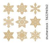 vector set of golden snowflakes. | Shutterstock .eps vector #562296562