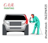 car painting. a man spray... | Shutterstock .eps vector #562296925