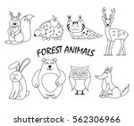 forest animal set isolated