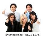 Successful business team with thumbs up - isolated over a white background - stock photo