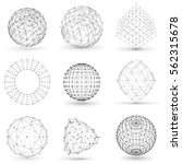 set of wireframe polygonal... | Shutterstock .eps vector #562315678