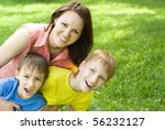 happy boys with mom in the... | Shutterstock . vector #56232127