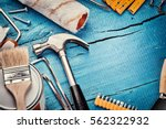 set of various tools on blue... | Shutterstock . vector #562322932