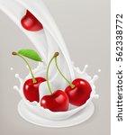 milk splash and cherry  3d...   Shutterstock .eps vector #562338772