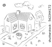 hand drawn country house in...   Shutterstock .eps vector #562344172
