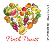 heart of fruits. vector symbol... | Shutterstock .eps vector #562346776