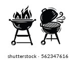 ector black bbq grill icons on... | Shutterstock .eps vector #562347616