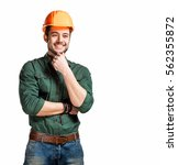 young construction workers in... | Shutterstock . vector #562355872