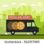 pizza truck of delivery rides... | Shutterstock .eps vector #562357885