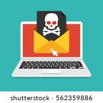 laptop with envelope and skull... | Shutterstock .eps vector #562359886