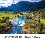 beautiful nature norway natural ... | Shutterstock . vector #562371622