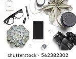 stylized photo. minimal flatlay ... | Shutterstock . vector #562382302