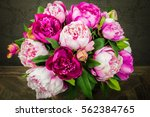 Bright Peony Bouquet In Vase.