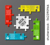 puzzle four piece business... | Shutterstock .eps vector #562390966