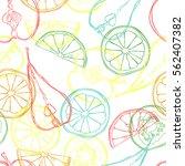 fruits  orange  lemon  apple ... | Shutterstock .eps vector #562407382